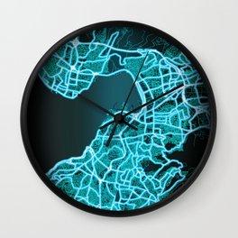 Izmir, Turkey, Blue, White, Neon, Glow, City, Map Wall Clock
