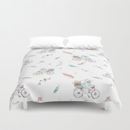 Modern pastel pink blue gray watercolor bicycle rabbit floral Duvet Cover