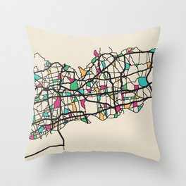 Colorful City Maps: Long Island, United States Throw Pillow