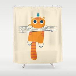 Fat cat, little bird Shower Curtain