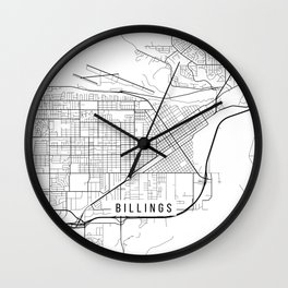 Billings Map, USA - Black and White Wall Clock