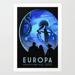 Europa Space Travel Retro Art Art Print