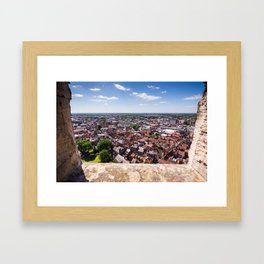 View of York from York Minster Cathedral tower Framed Art Print