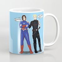 bucky barnes Mugs featuring Steve/Bucky Costume switch up by TEAM JUSTICE ink.