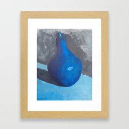 Original Blue Pear Still Life Painting on Canvas  Framed Art Print
