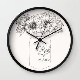 Mason Jar Flowers Wall Clock