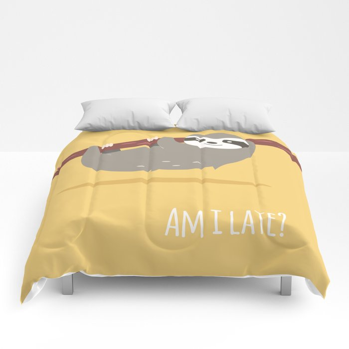 Sloth card - Am I late? Comforters
