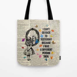 Alice In Wonderland Quote - Vintage Dictionary Page Tote Bag