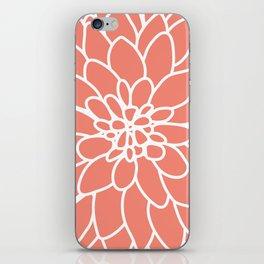 Coral Modern Dahlia Flower iPhone Skin
