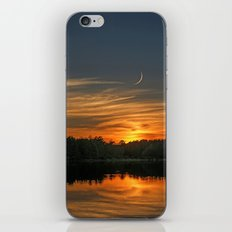 Sunset, Lake, Pine Forest & Crescent Moon Composite iPhone & iPod Skin