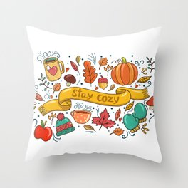 Stay Cozy in Autumn Throw Pillow