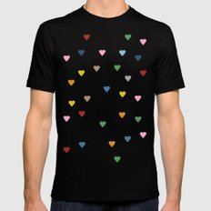 Pin Point Hearts Black Mens Fitted Tee MEDIUM