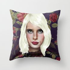 Young Girl and Flowers (Emma Roberts) Throw Pillow
