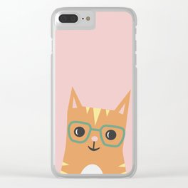Tabby Cat with Glasses Clear iPhone Case