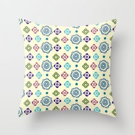 Retro Whimsical Floral Pattern Throw Pillow