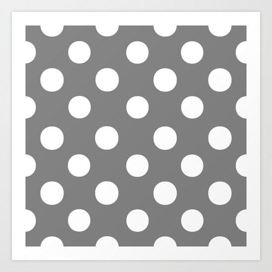 Polka Dots (White/Gray) Art Print