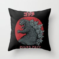 kaiju Throw Pillows featuring Gojira Kaiju Alpha by pigboom el crapo