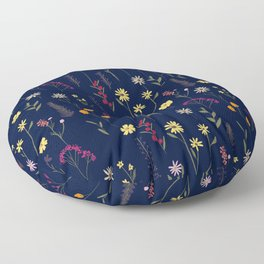 Hand drawn cute dried pressed flowers illustration navy blue Floor Pillow