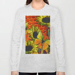 ORANGE-YELLOW BUTTERFLIES & SUNFLOWERS ARTISTIC HONEYCOMB DRAWING Long Sleeve T-shirt