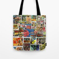 movie posters Tote Bags featuring Vintage Sci-Fi Movie Posters  |  Collage by Silvio Ledbetter