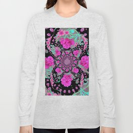 CERISE PINK ROSES & TURQUOISE RIBBONS ON BLACK Long Sleeve T-shirt
