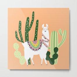Cute Llama with Cactus Metal Print
