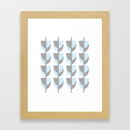 Tulips In Spring Time - Grey and Blue on White - Spring Time Series Framed Art Print
