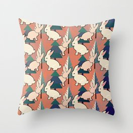 Bunnies and Trees 1 Throw Pillow