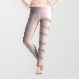 Drawn Stripes White Gold Sands on Flamingo Pink Leggings