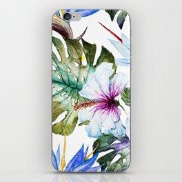 Watercolor Tropical Hibiscus iPhone Skin