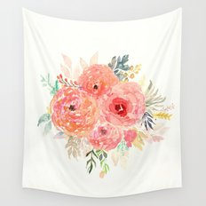 Pink Flower Bouquet Wall Tapestry