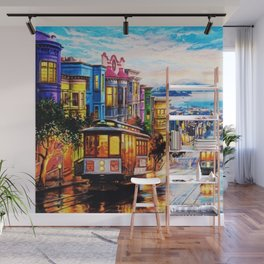 Russian Hill, San Francisco with view of Bay Wall Mural