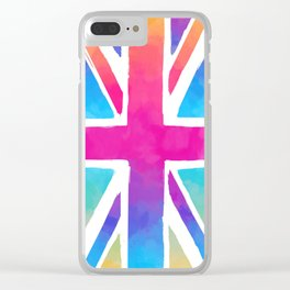Union Jack Flag in Watercolor Clear iPhone Case