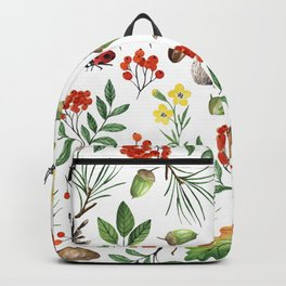 Colorful orange green brown watercolor Autumn pattern Backpack
