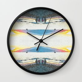 Pink and Blue Inverted Sunset at the beach Wall Clock