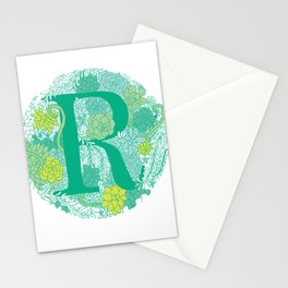 Succulent Greens Letter R Stationery Cards