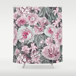 Nostalgic Flower Pattern Teal And Pink Shower Curtain