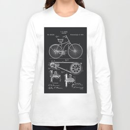 Vintage Bicycle patent illustration 1890 Long Sleeve T-shirt
