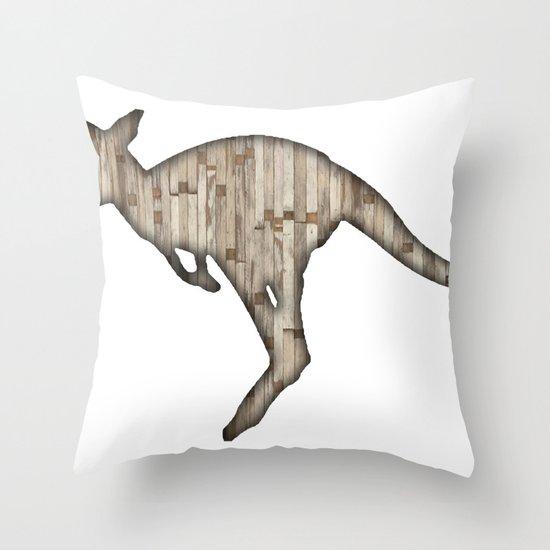 wooden kangaroo Throw Pillow