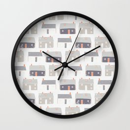 Houses Village Vector Pattern Repeat Seamless Background Wall Clock