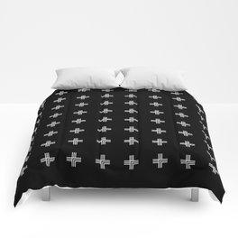 Geometric Swiss Cross Pattern (black background) Comforters