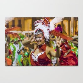 Costumed Attractive Young Woman Dancer at Carnival Parade of Uruguay Canvas Print