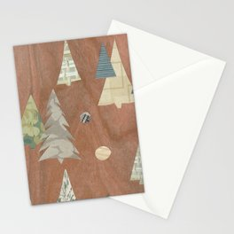 Retro Christmas on Wood Stationery Cards