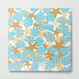 Starfish and Shells Metal Print