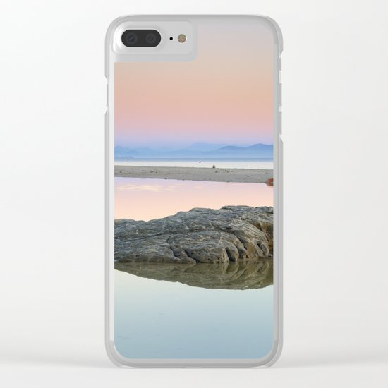 """Walking...."" Pink sunset at the beach. Clear iPhone Case"