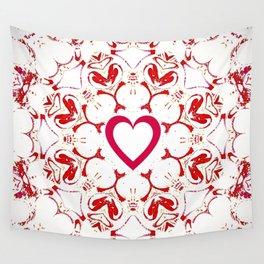 Bohemian Red and White Heart Mandala Wall Tapestry