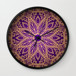 Violet abstract lace ornament Wall Clock