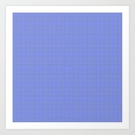 Small Cobalt Blue and White Houndstooth Check Pattern Art Print