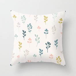 Wonders Collection, Simple Multi-Color Sprigs, Nature, Cream, Pink, Blue, Mustard, Slate Blue Throw Pillow