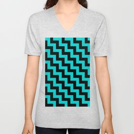 Black and Cyan Steps LTR Unisex V-Neck